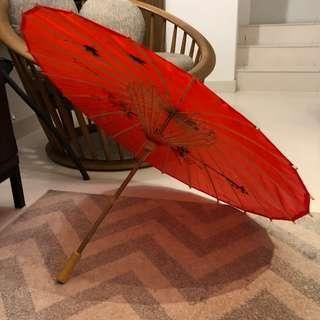 Red silk umbrella with bamboo handle ☂