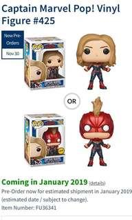 Captain Marvel Funko Pop Preorder Chase And Normal