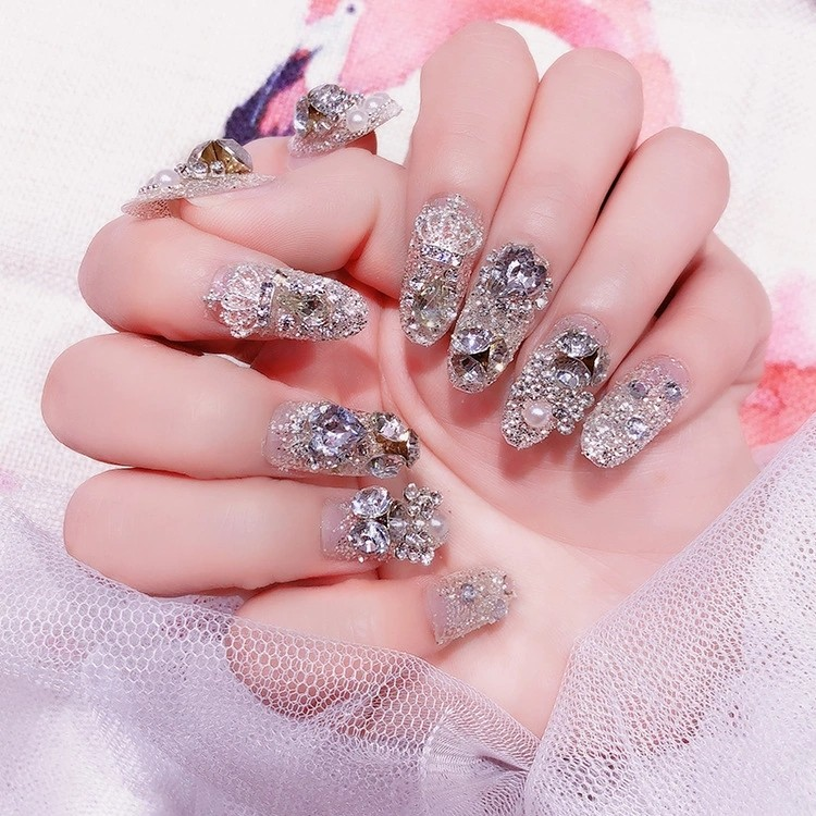24Pcs/Set Finished False Nails Bride Nail Art Decoration Tips Fake ...