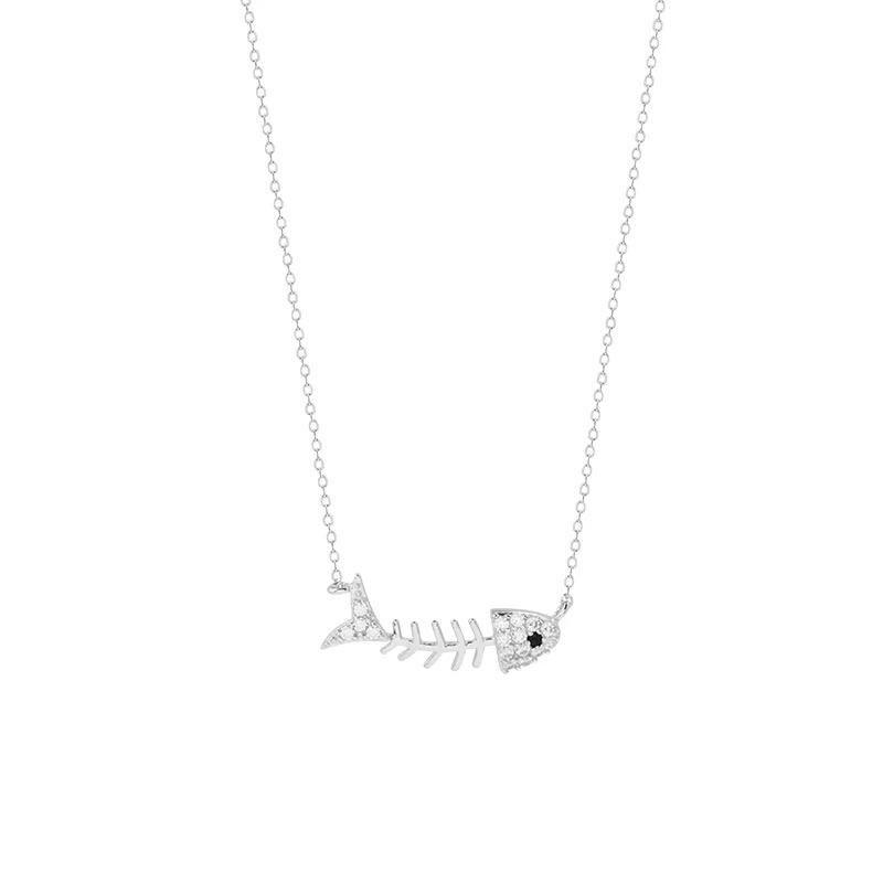 925 Sterling Silver - Crystal Fish Bone Pendant Necklace