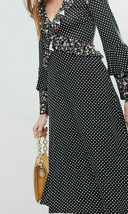 33b0f26ee304 ASOS Midi Mixed Print Ruffle Tea Dress
