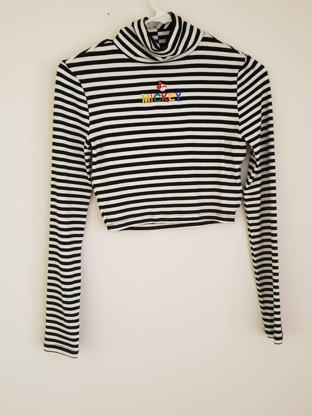 Black and White Striped Crop Top w/ Mickey
