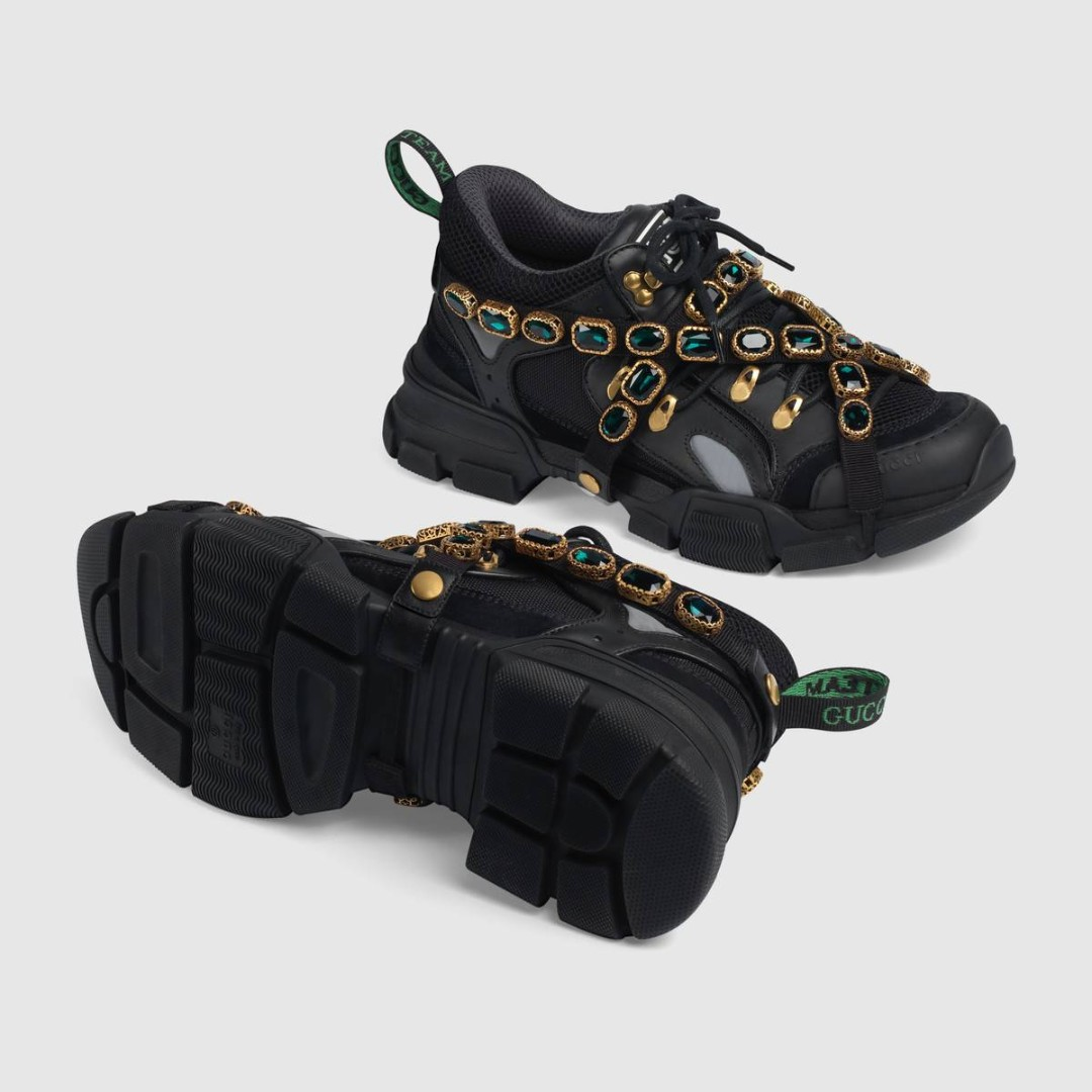 2e780722163 Black Flashtrek leather sneaker with crystals