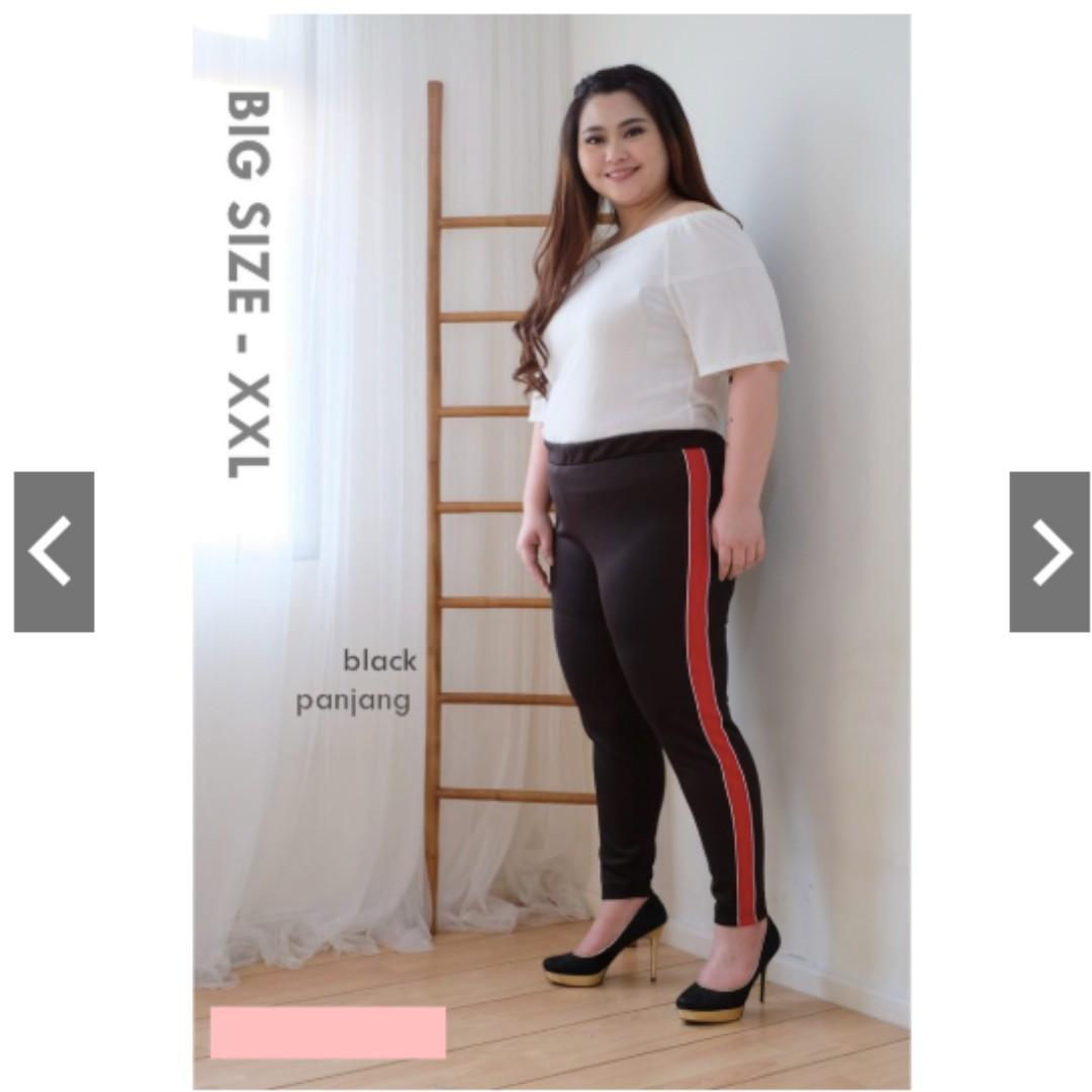 Celana Legging Jumbo Xxl Leging Panjang Jumbo List Merah Fesyen Wanita Pakaian Wanita Bawahan Di Carousell
