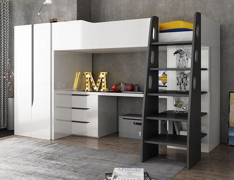 Childrens Bed W Wardrobe W Study Table Furniture Beds