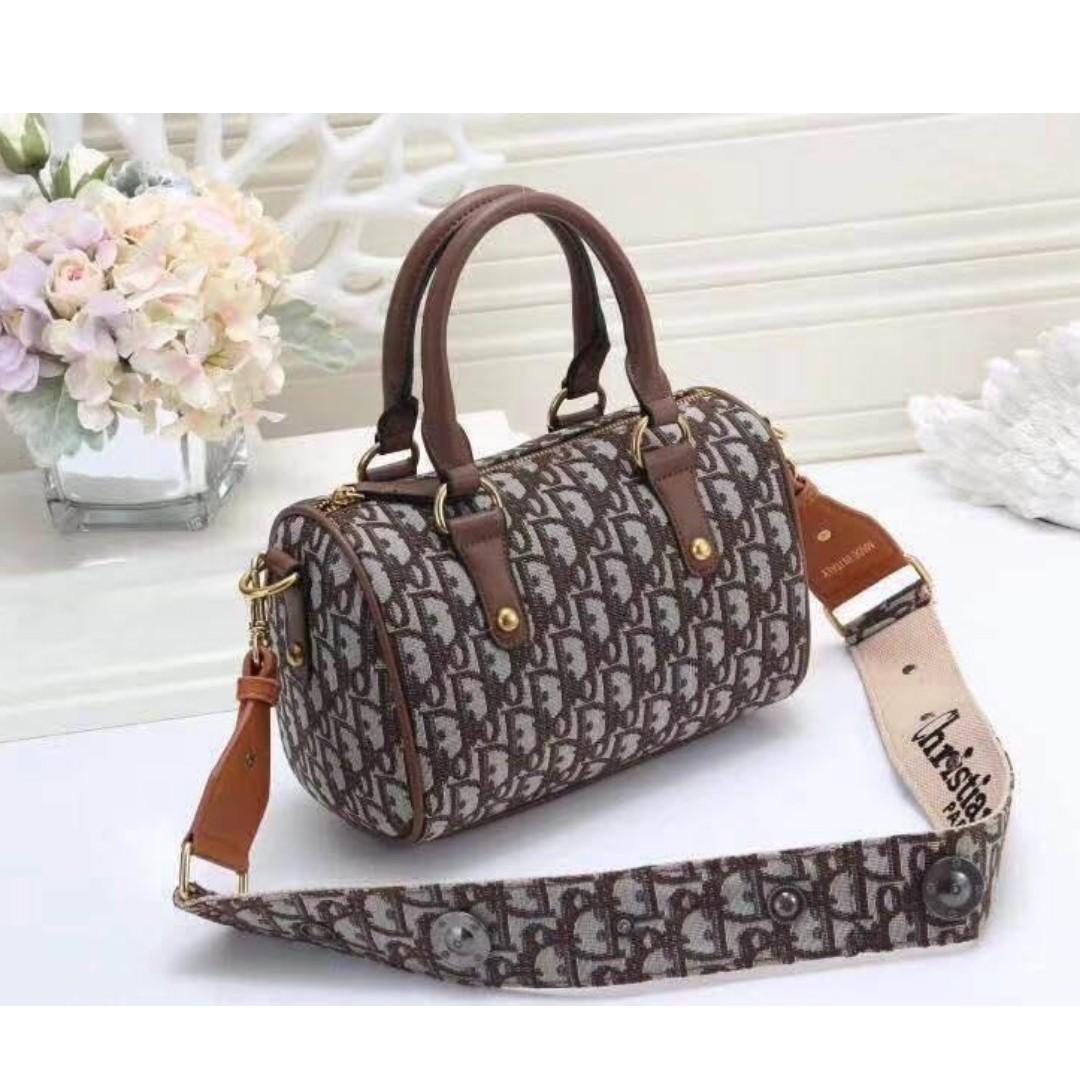 c25ea06e6565 Christian Dior Doctors Bag Hand Bag Saddle Bag Sling Bag Crossbody bag  Duffle Bag.Canvas Soft Fabric Women s Bag BROWN