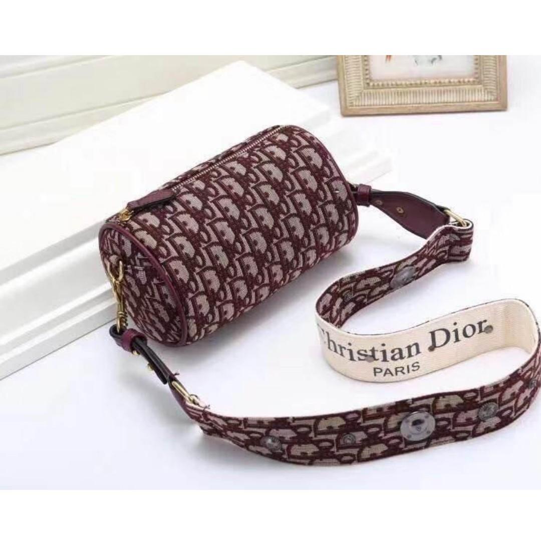 8b4dac11dc34 Christian D.i.o.r Saddle Bag Sling Bag Crossbody bag Duffle Bag.Canvas Soft  Fabric Women s Bag MAROON