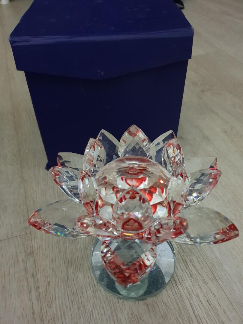 Colored Crystal Glass Lotus Flower Display Red Vintage
