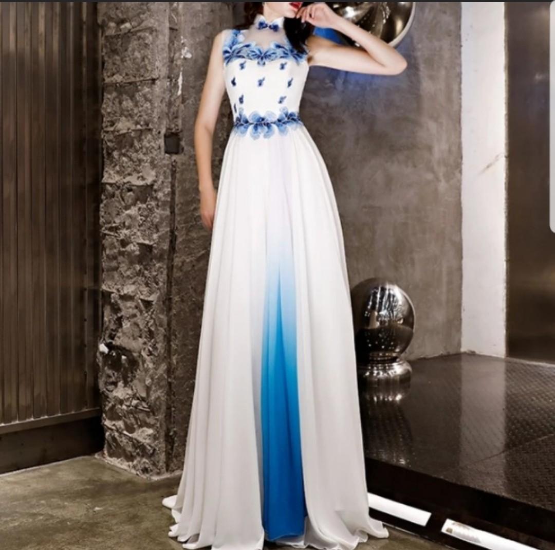 e86abaca1c9 Dual tone white blue qipao cheongsam Dress   evening gown