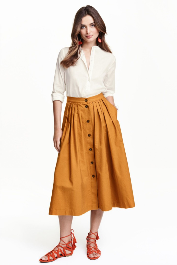 15e61cd4b9 [H&M] Button-down Midi Skirt with pleats in light brown, Women's Fashion,  Clothes, Dresses & Skirts on Carousell