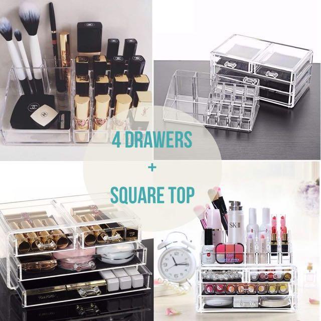 Instocks Acrylic Cosmetic Organizer 4 Drawers Makeup Storage Holder Box