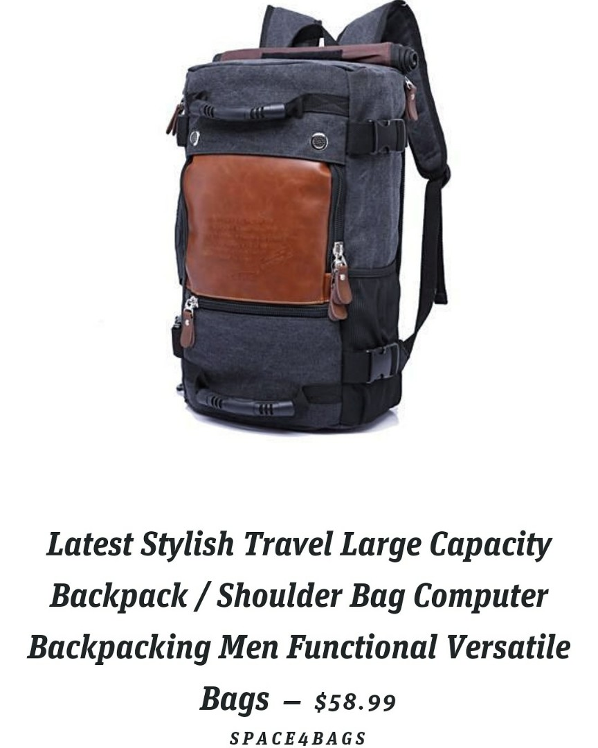 LATEST STYLISH ROLLTOP TRAVEL LARGE CAPACITY BACKPACK   SHOULDER BAG  COMPUTER BACKPACKING MEN FUNCTIONAL VERSATILE BAGS 9a908cd2ead7c