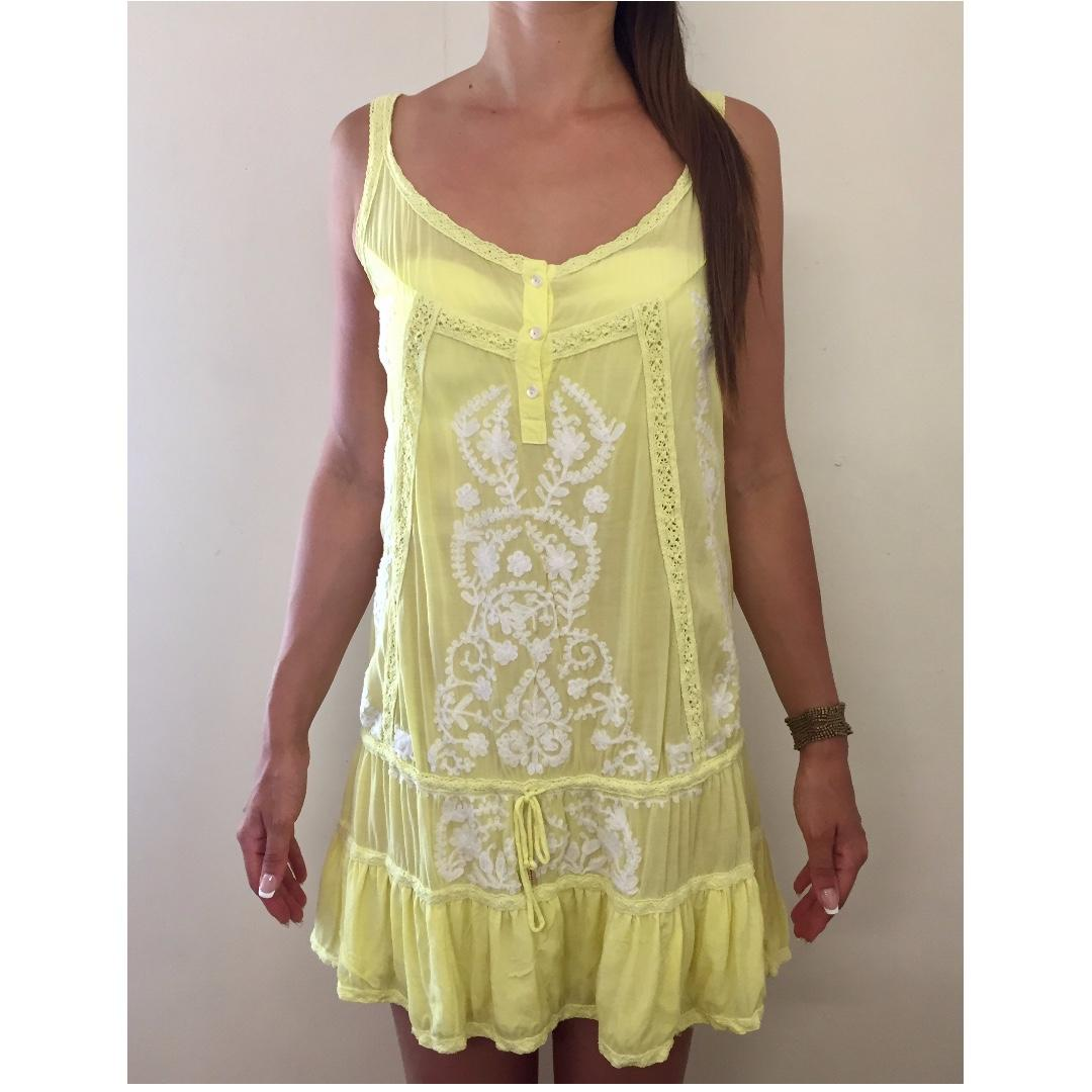 MELISSA ODABASH Yellow Crochet Designer Boho Cover Up Sun Dress Sz S AU 8