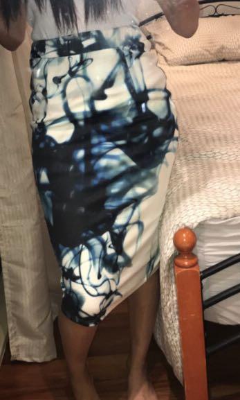 Midi skirt blue white black bodycon Mia boutique casual cocktail