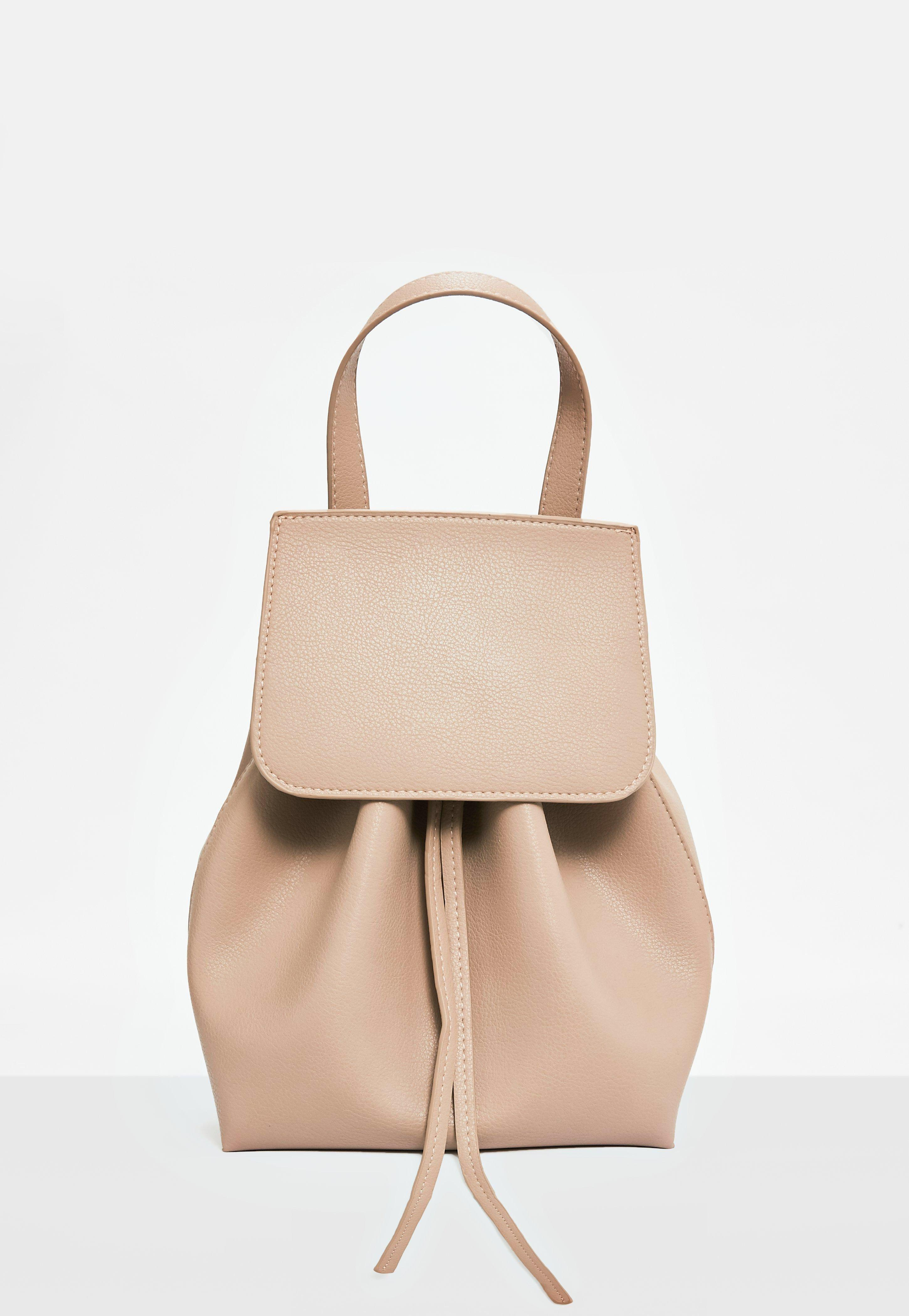 Missguided nude leather backpack
