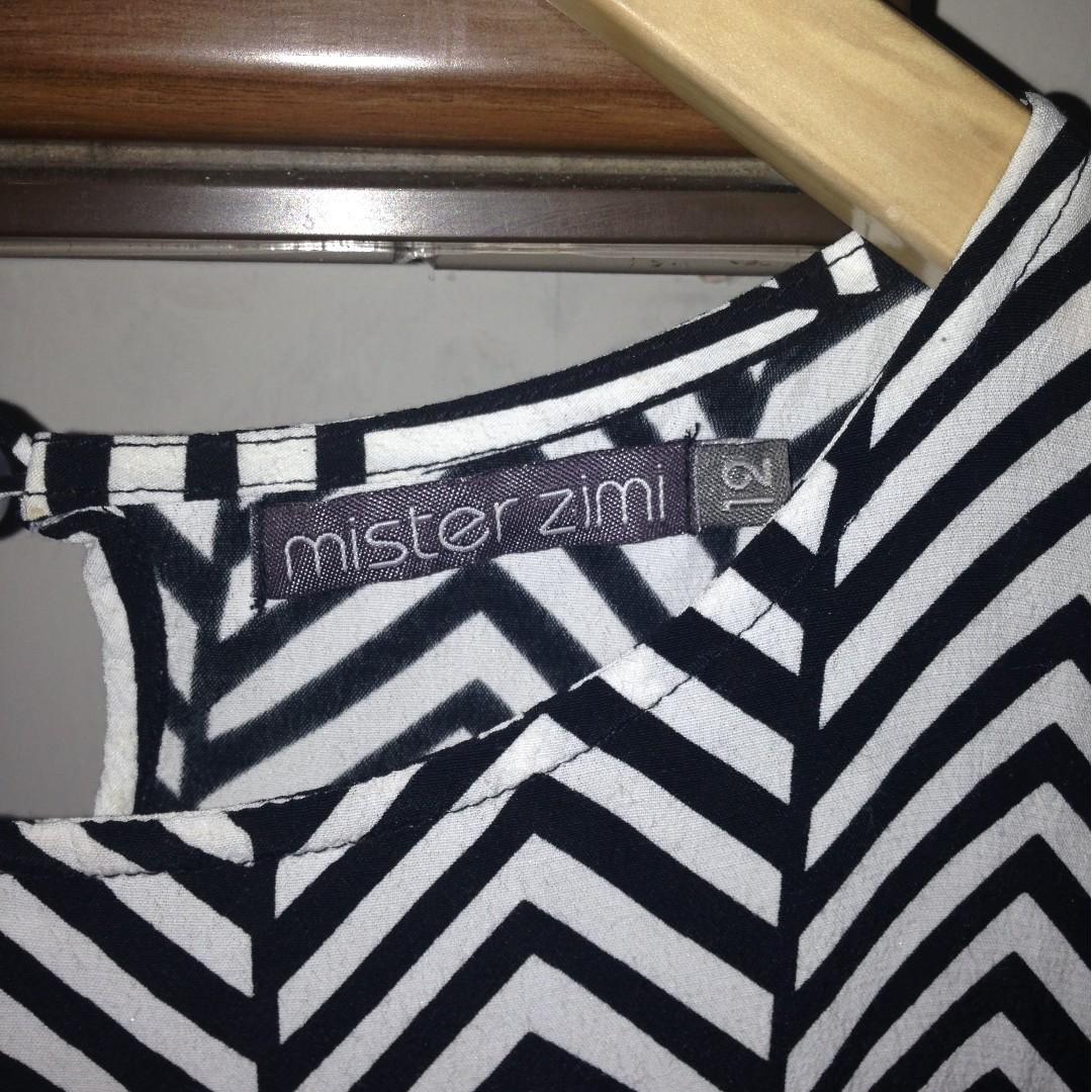 Mister Zimi black and white tunic dress size 12 rayon