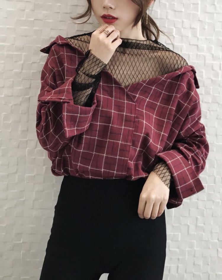 Mock Two piece mesh panel Plaid shirt