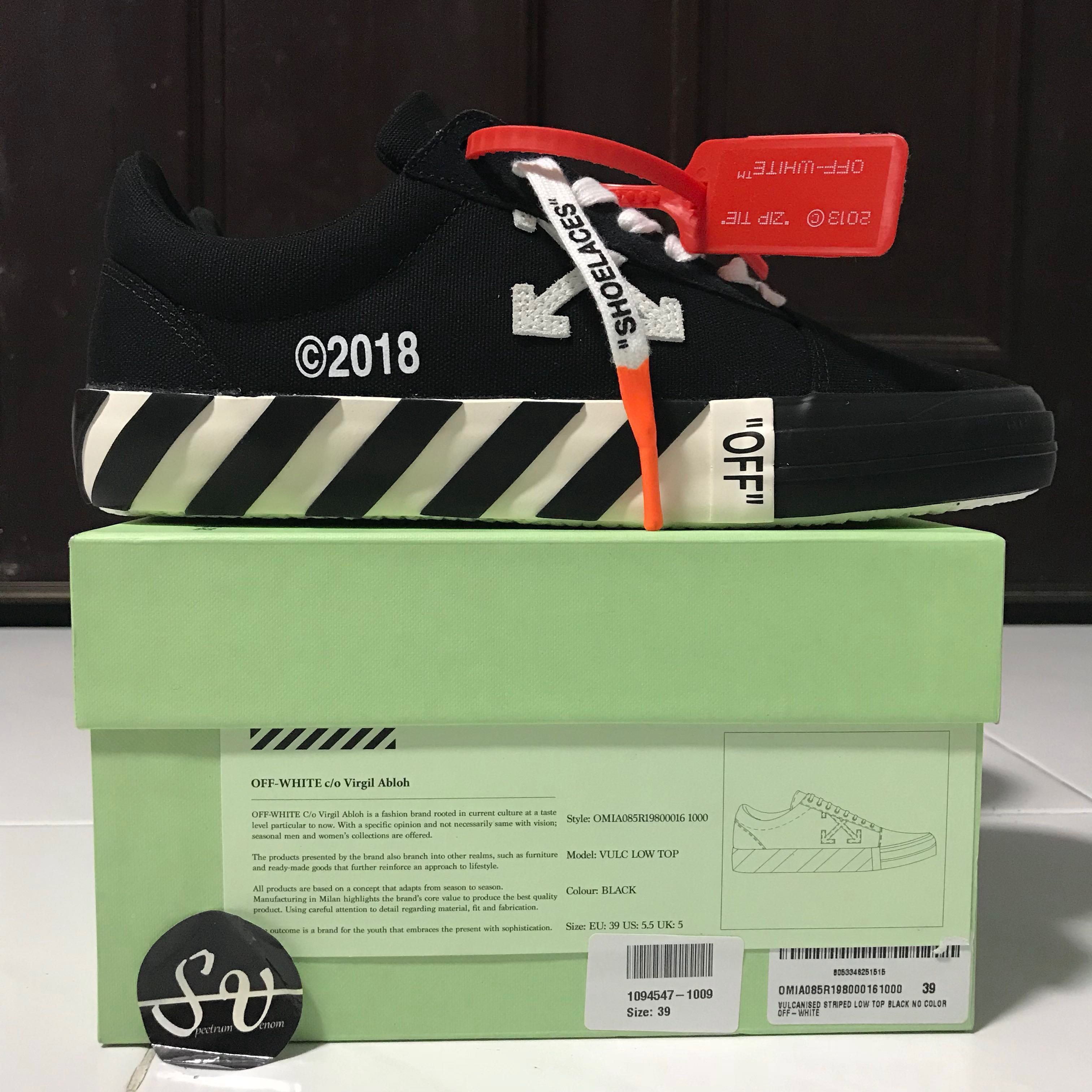 d8723b40 Off White Vulc Low Top Canvas Sneakers Updated Stripes Black, Men's  Fashion, Footwear, Sneakers on Carousell