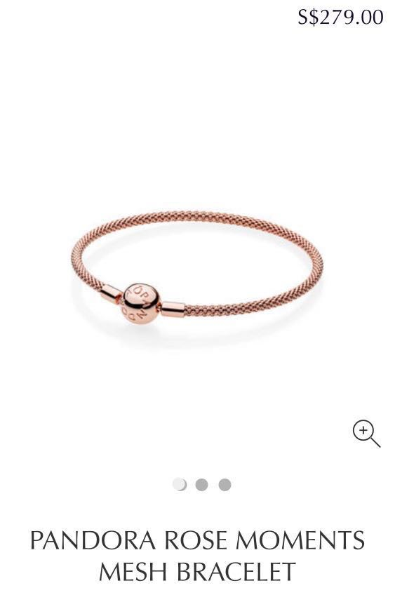 4321c928f Pandora Rose Moments Mesh Bracelet - rose gold, Women's Fashion ...