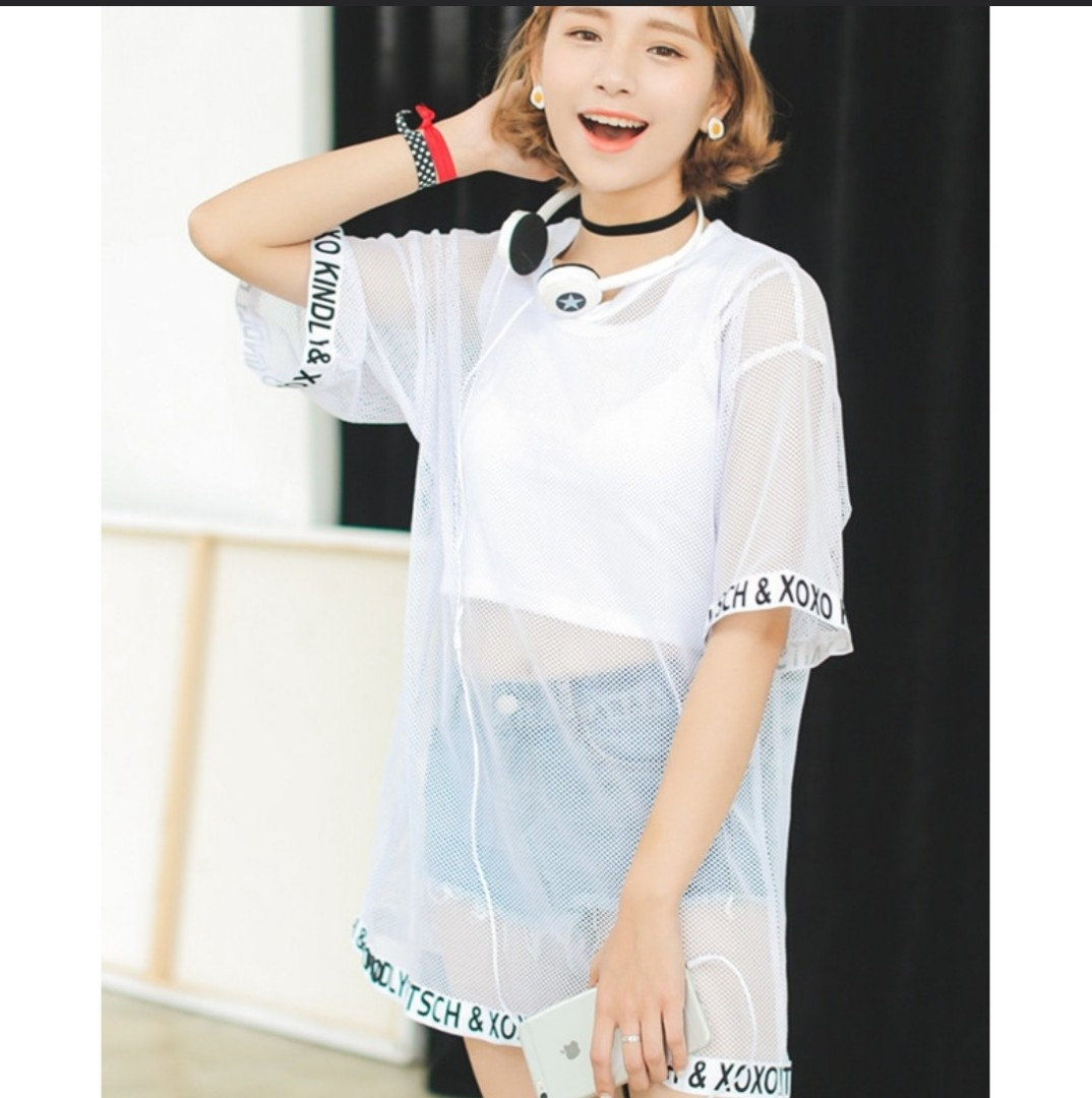 66c7d1278856a Two Piece Set Sexy Korean Ulzzang Oversized Mesh Letters Top ...