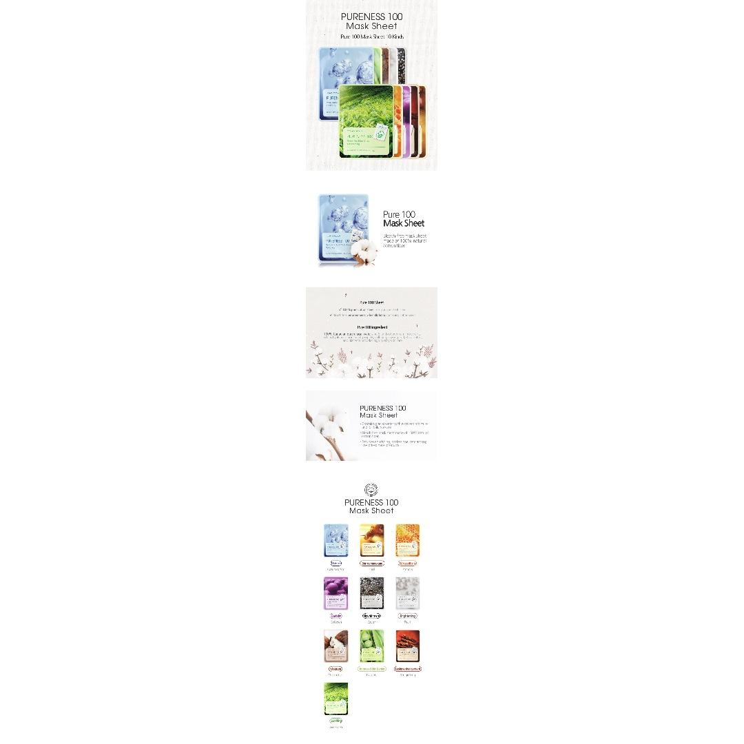 Pre-order Korean TONYMOLY PURENESS MASK SHEET (100% Cotton)