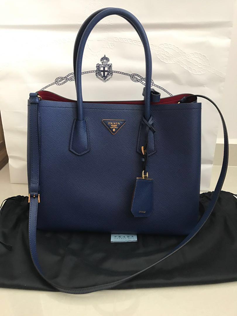 ae00ce027784 Price Reduced Prada Saffiano blue Large Bag