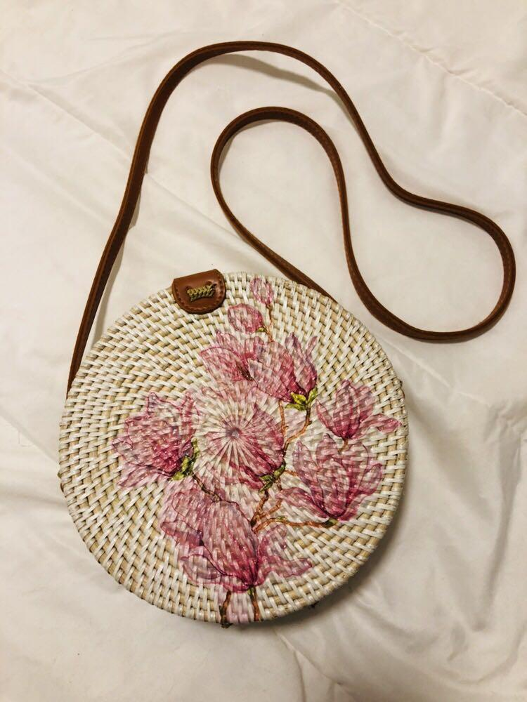 White with FLORAL Bali Rattan Sling Bag