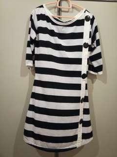 Black and White Stripe Long Top #MY1212