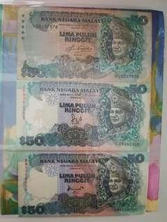 MALAYSIA RM50 x 3 Different Series