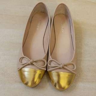 金粉色蝴蝶結圓頭芭蕾舞平底鞋
