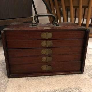 Antique Wooden Mahjong set case