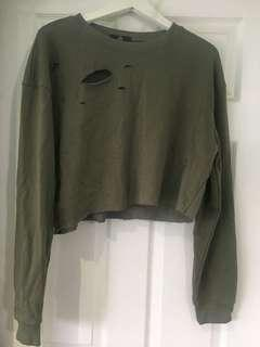 Missguided Olive Green Cropped Crewneck