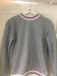 Striped Neck and Arm Cuff Detail Grey Sweater