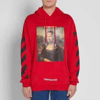 Off White Mona Lisa Pullover Red Hoodie [XXS.XS.S.M.L]