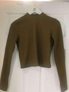Warm Brown Mock Neck Cropped Sweater