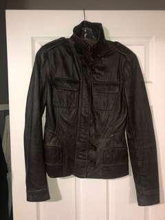 LAMB LEATHER DANIER JACKET - Black/Brown - Size 2XS