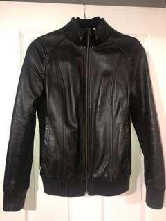 SOIA & KYO LEATHER/FABRIC BOMBER - Size M