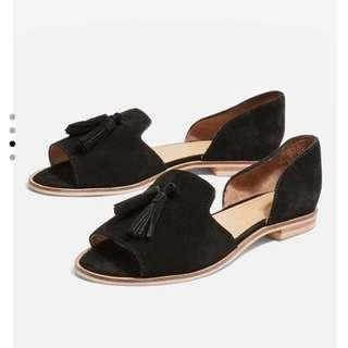 Topshop Black Tassel Shoes/Mule