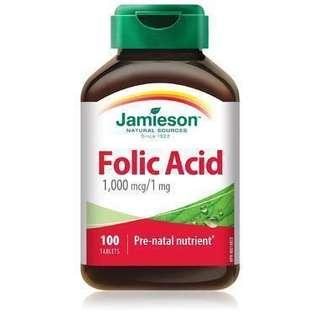 Jamieson Folic Acid 葉酸 (1000 微克 / 1 毫克)100 粒裝 x 2 樽