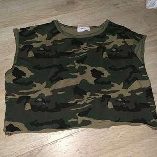 camo army crop top