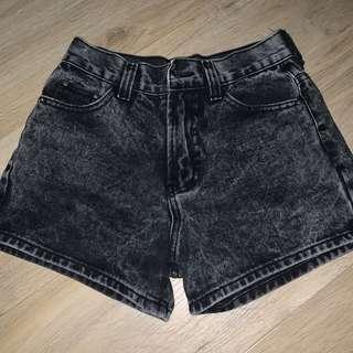 black acid wash shorts