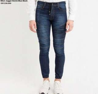 Biker jogger denim blue black