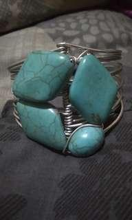 Turquoise and Wire Bangle