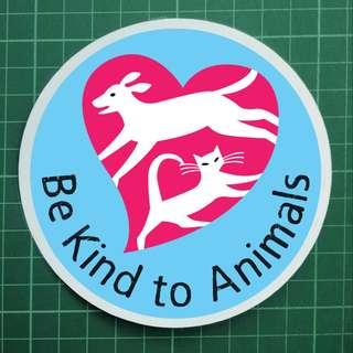 Car Decals / Windscreen Decals - Be Kind to Animals. $8 each. 3 for $20 only with Free Normal Mail. Overall Diameter: 11cm. Artwork size: 10cm diameter. Free Normal Mail