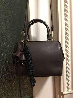 💯real Celine Vintage Embossed Leather 2WAY Mini Boston Bag in brown color