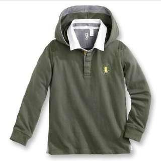 Okaidi Khaki Green Hooded Long-sleeve Polo
