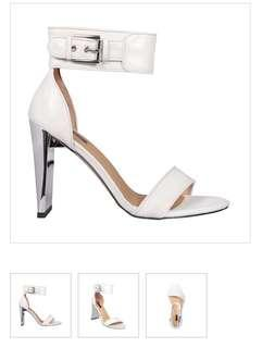 Skin Footwear Phoenix white with silver heels