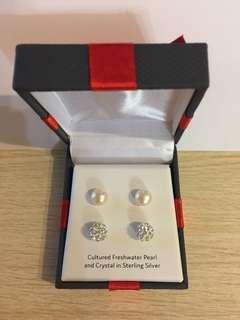 美國925全銀防敏水晶閃石耳環套裝