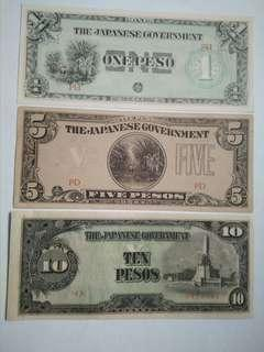 3 diff. Philippine pesos issued during WWII (Japanese Occ.) 1, 5, & 10 Pesos