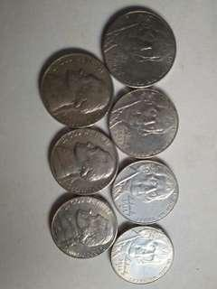 7 diff. Jefferson Nickels of the US 1974, 1978, 2003P, 2007P, 2008P, 2012P & 2013D